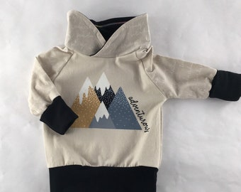 Adventure sweater, toddler top, kids top, childrens top grow with me