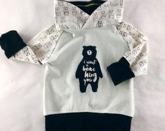 Bear sweater, toddler top, kids top, childrens top grow with me