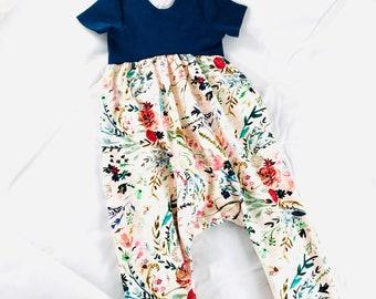 Girls' harem romper, toddler romper, girl romper, summer romper, spring outfit, easter outfit