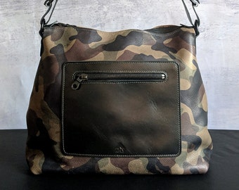 471a0326b900 Bronx Camo Handmade Leather Tote    Purse    Handbag    Tote Bag    Large