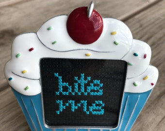 """Mini Framed Completed Cross Stitch Cupcake with """"bite me"""" in cursive cute & funny gift/party decoration/party favor"""