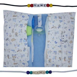 Large nappy bag with name wrap bag to go XL twins ABC pacifier chain many fan nappetui baby on the way boy customizable