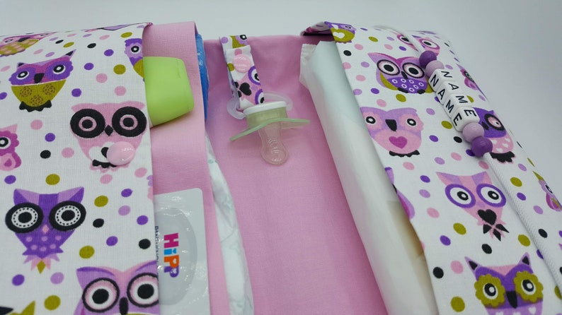 Nappy bag to go with name wrap bag XXL Twins animal gulls pacifier chain fan nappetui baby on the way girls customizable