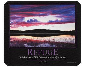 Mouse Pad Psalm 62:1-2 Refuge Christian Religious Scripture Mousepad