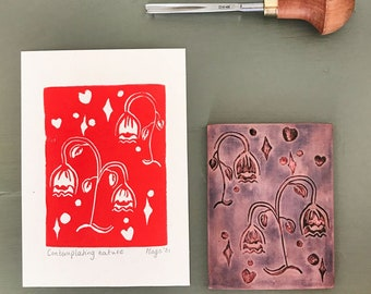 floral linoprint - full color handprinted linoprint -about A6 size - signed and dated