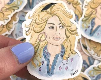 Country music star Dolly Parton waterproof sticker, matt finish