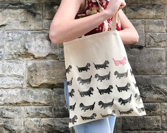Sausage dog Percy; Personalised hand-printed dachshund pattern print, natural canvas tote bag