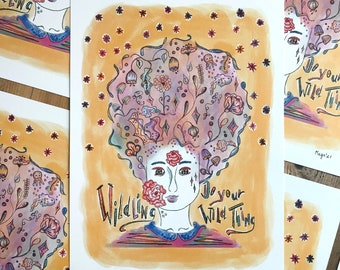 Empowerment quote - watercolor & pencil - flower woman art poster  - A4 size - signed and dated