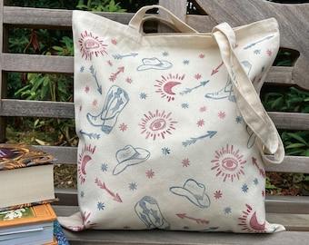 Muddy Boots. Personalised hand-printed western pattern print, natural canvas tote bag