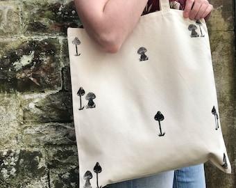 Natural canvas tote bag; Nosy Mushrooms Pattern