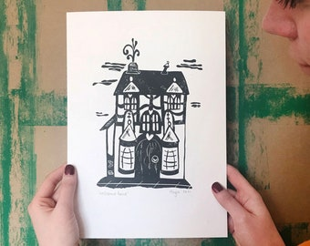 Welcome Home - Handprinted linoprint - A4 size - signed and dated