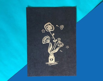 floral linoprint - Handprinted linoprint - A5 size - signed and dated - Gold ink