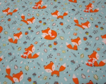 Cotton Flannel Fabric-Blue Frolicking Foxes Flannel -Camelot Fabrics - Flannel fabric by yard or half yard