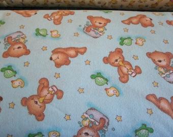 Teddy Bear flannel, Aqua blue, green turtle, yellow duck baby fabric, yellow stars, bubble bath, quilting fabric, sold By The half  Yard