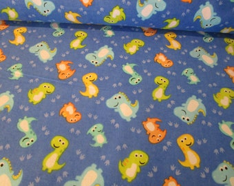 Comfy cotton Flannel Print- Baby Dinosaurs & Foot Prints, Fabric by Yard or half yard