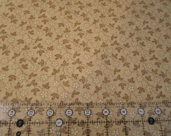 Cotton Fabric - Nifty Floral Vines - flower Vines- Nifty Tonal Camel fabric by half yard