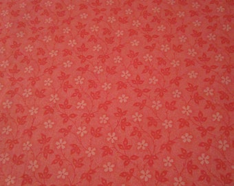 Cotton Fabric - Nifty Floral Vines - flower Vines-  Nifty Tonal Floral Coral fabric by half yard