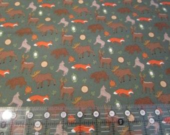 Quilting Cotton Fabric-Adventure is Calling-Adventure Wildlife Green -Riley Blake fabric by half yard