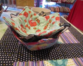 Microwavable Bowl Cozy/pot Holder, Soup Bowl Cozy, Soup Bowl Holder, Reversible Bowl Cozy