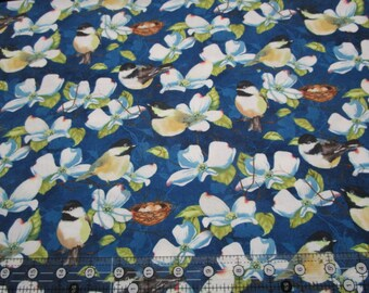 Cotton fabric-Feather Your Nest Fabric Birds on blue- fabric by the half yard