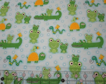 Comfy cotton Flannel fabric-Alligators, Frogs, Snakes, Birds & Turtles Blue- A.E. Nathan-fabric by the yard or half yard
