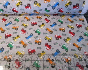 Comfy cotton Flannel Prints - Tractor Trucks Gray from A.E. Nathan-fabric by the yard or half yard
