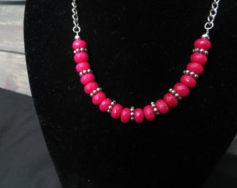 Rose Jade Rondelle Beaded Necklace