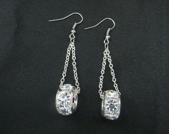 Suspended Silver Rhinestone Rondelle Earrings