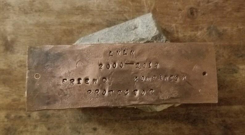 Copper Memorial Plate Pet Memorial
