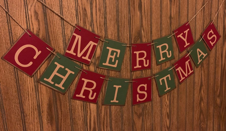 Merry Christmas Banner Farmhouse Garland Bunting Sign Distressed Red and Green Holiday Decor