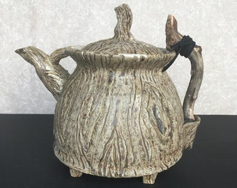 Rustic Teapot with two Teabowls and Wooden Handle