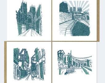4 x York Landmarks Greetings Cards from Screenprint Digital copy of Limited Edition Screen Print Famous Streets in UK Shades of Teal