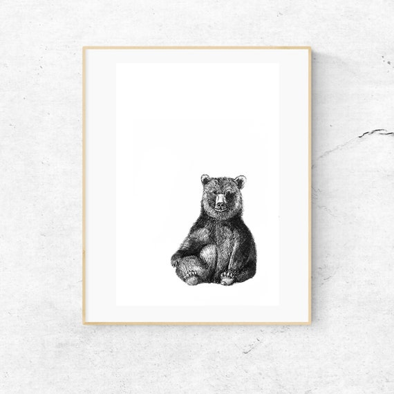 Bear Illustration. Cute Bear Print. Bear Nursery Art. Woodland Bear Print. Animal Illustration, Childrens Decor, Bear Drawing, Black Bear