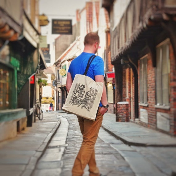 the Shambles (York) Luxury Tote - 100% natural cotton - screenprinted designed by York artist - diagon alley - Harry Potter landmarks
