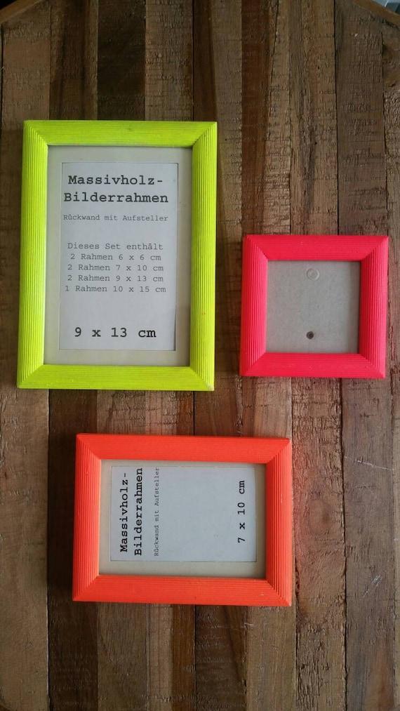 3 er Set Holz Bilderrahmen Neon gelb pink orange | Etsy