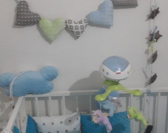 Heart Nursery Bunting Flags Baby Room Decor
