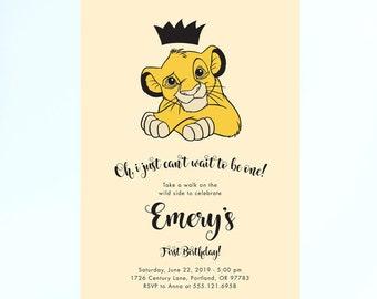 Lion King First Birthday Invitation Digital Stationery Invitations Online Delivery