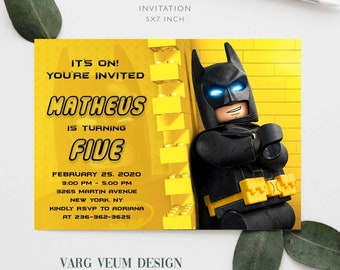 Lego Batman Birthday Invitations Digital Stationery Online Delivery
