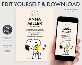 Snoopy Baby Shower Digital Invitation
