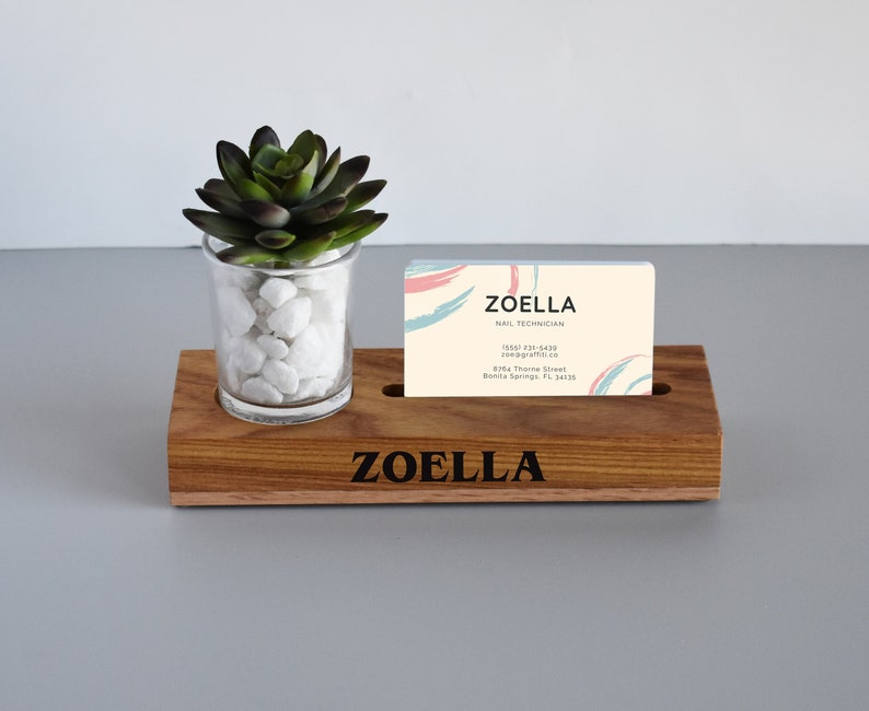 3789cec377879 Desk Business Card Holder - Gift for New Business Owner, Graduation,  Promotion - Personalized with Slogan, Company Name - Best Selling Items