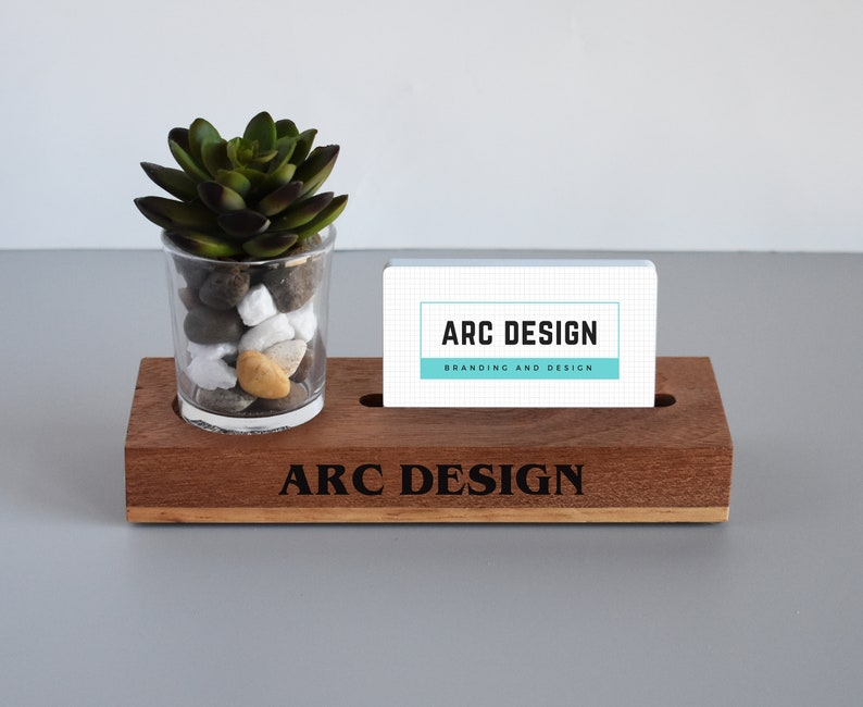 6edbc5dc8d9a9 Desk Caddy Business Card Holder with Plant - Unique Christmas Gift for  Girlfriend, Fiance, Boss, Manager - Succulent Included - Rustic Look