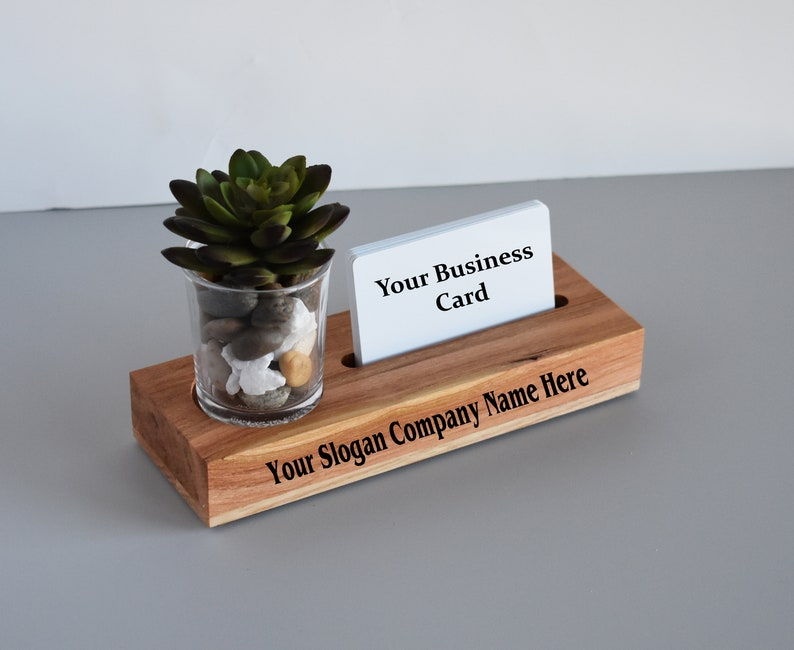 e7d16e4f7dc5c Wood Business Card Holder - Unique Modern Gift for New Business Owner,  Graduation, Promotion - Personalized with Slogan, Company Name
