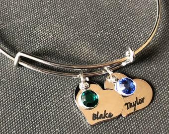 Custom Personalized Heart Charm with birthstone and bangle- Gift, birthday, mom, grandma, baby, wife