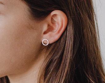Hoop Studs - 925 Solid Sterling Silver - Disc Earrings - Circle Stud Earring - Hoop Stud Earrings - REDCHERRYBLVD