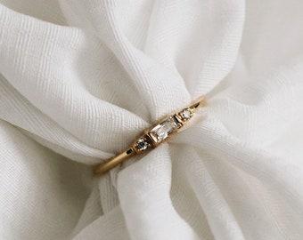 White CZ Ring - 24k Gold Vermeil Ring - White Zirconia Ring - Minimalist Ring - Layering - Stack -  Stacking Ring - REDCHERRYBLVD