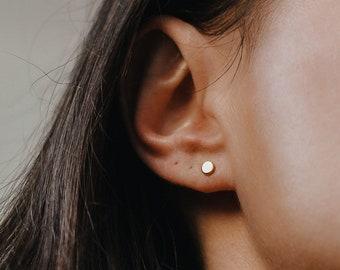 925 Silver Circle studs earrings Round cz Disc Studs minimalist Jewellery Micro Pave Disc Stud Earrings studs earrings