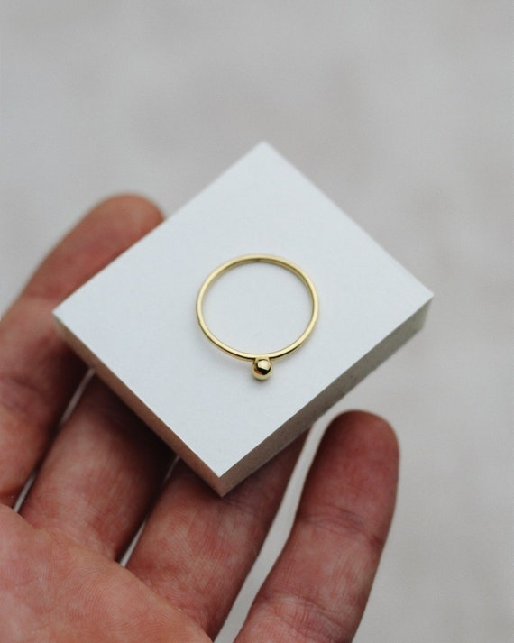 Layering Stacking Ring REDCHERRYBLVD 24k Gold Plated Over 925 Solid Sterling Silver Minimalist Ring Gold Vermeil Tiny Balls Ring