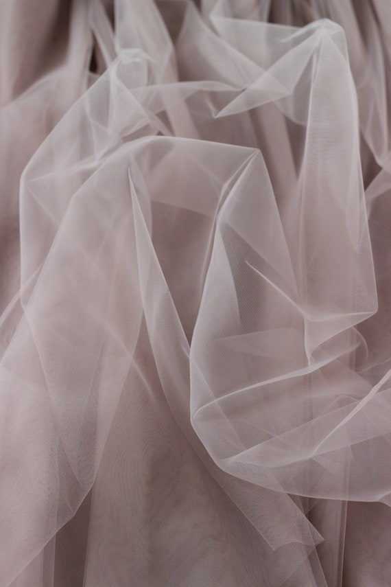 SOFT TULLE// NET DRESS FABRIC-FREE UK POSTAGE TAUPE
