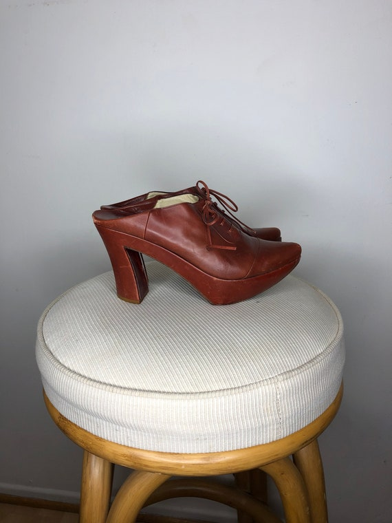 Vintage Michel Perry Leather Platforms - Size 9
