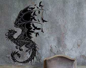 Tribal Dragon Wall Art Dragon Decoration Nursery Fantasy Wall Sticker Wall Decal